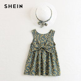 5e1eaacf68 SHEIN Kiddie Girls Floral Bow Front Casual Dress With Hat Kids Clothes 2019  Spring Korean Fashion Sleeveless Cute Short Dresses