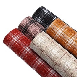 diy leather bags Australia - 20*34cm Grid Plaid Faux Synthetic Leather Fabric Sheets ,DIY handmade materials for bag 91294