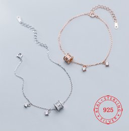 $enCountryForm.capitalKeyWord NZ - Solid 925 Sterling Silver Women Link Chain Bracelets Unique Design Round Tube Charm Bracelets For Women Jewelry
