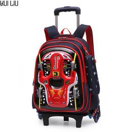 $enCountryForm.capitalKeyWord Australia - Children Trolley School Bag Backpack Wheeled 3D Car Printing book Bag For boy Gril Kids Wheel Schoolbag Student Latest Removable