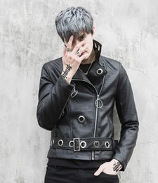 Korean Motorcycle Jacket Australia - New Korean Slim Short Hair stylist Leather Fashion jacket Trendy Men's Motorcycle Leather Jacket DJ singer Costume