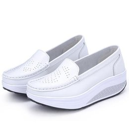 swing summer shoes Australia - Woman Shoe Summer genuine leather Hollow out breathable swing shoes white Casual shoes wedges mother shoes