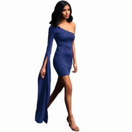 Discount solid color one shoulder dress - Lace Up Party Mini Dress Women Long Sleeve Elegant Bodycon Dresses Sexy Club Wear Solid Color Bandage Dress Vestidos