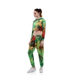 young women clothing UK - 2020 Fashion 3D Digital Printing Leaf Pattern Women Navel Jogging Suits For Young Girls Femme Fitness Gym Sport Running Clothing