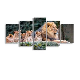 Art Canvas Prints Australia - 5 pieces high-definition print animals lion canvas painting poster and wall art living room picture B-059