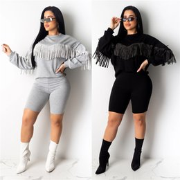 full golf sets NZ - New Autumn Winter Women set Tracksuits O-Neck Full Sleeve Top shorts Suits Tassel Casual Two Pieces set Outfit Sporty GL6251