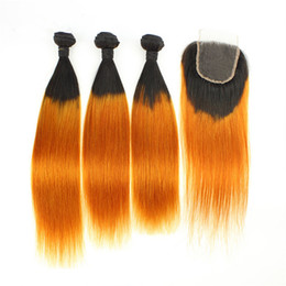$enCountryForm.capitalKeyWord UK - Indian Human Hair Straight Ombre Orange 3Bundles with Closure Straight #1B Orange Ombre Human Hair Lace Closure Piece 4x4 with Weave Bundles