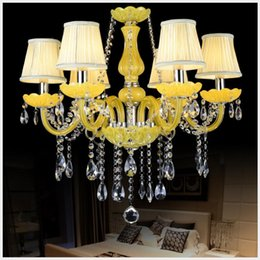 chandelier candles NZ - Tiffany Yellow Clear Crystal Chandelier Lustre Crystal Chandelier 18Arms D950mm E14 AC Candle Bulbs Optional Lustres De Cristal Chandelier
