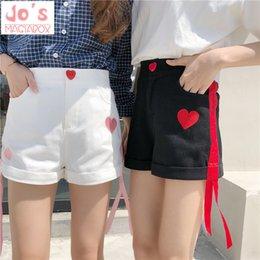 $enCountryForm.capitalKeyWord NZ - 2019 Love Print Embroidery Shorts Sweet Japanese Style Button Loose Short Pants Summer Kawaii High Waist Shorts With Pockets J190507