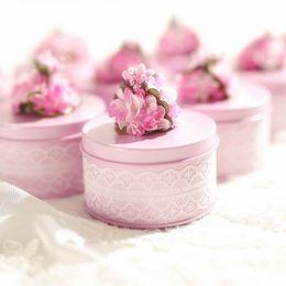 $enCountryForm.capitalKeyWord Australia - 12pcs lot Lace Decor Storage For Party Supplies Flower Design Wedding Candy Gift Box Tin Round Caddy Metal Favor Organizador J190713