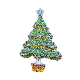 brooch bulk wholesale Australia - customized rhinestone crystal 6 mixed colorful square 5 star Christmas tree in green brooch pins bulk for woman adies of Decoration