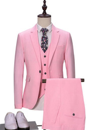 $enCountryForm.capitalKeyWord Australia - New Arrival Fashion 3 Pieces Men Suit (Jacket+Pants+Vest) Pink 2019 Skinny Wedding Tuxedos for Men costume homme mariage