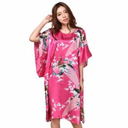 $enCountryForm.capitalKeyWord UK - Hot Summer Pink Sexy Silk Rayon Home Dress Women Summer Nightdress Sleepshirt Robe Gown Kimono Bathrobe Plus Size 6xl A-071