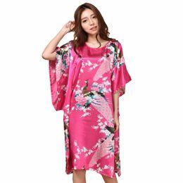 $enCountryForm.capitalKeyWord UK - Summer Hot Pink Sexy Silk Rayon Home Dress Women Summer Nightdress Sleepshirt Robe Gown Kimono Bathrobe Plus Size 6xl A-071