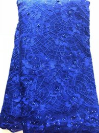 Wholesale material for dresses beads resale online - Royal Blue High quality embroidery African net lace fabric beads pearls French tulle lace material for dress yards SLL3632