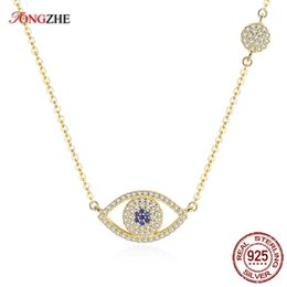 $enCountryForm.capitalKeyWord Australia - Tongzhe 2018 Evil Eye Necklace 925 Sterling Silver Cubic Zirconia Gold Pendant Necklace Women New Zealand Jewelry Collares J190526