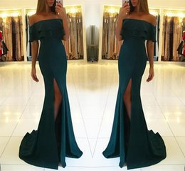 Wholesale 2019 Hot Summer Dark Green Mermaid Bridesmaid Dress Sexy Off Shoulder Sheath Formal Party Gown Pageant Dresses Custom Made BM0631