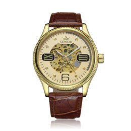 Discount automatic mens watch military - 1 Pcs Relogio Masculino Skeleton Automatic Mechanical Watch Gold Leather Strap Men Military Clock Mens Montre Homme Relo