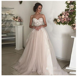 $enCountryForm.capitalKeyWord Australia - Belt Lace Sweetheart Tiered Sash White and Pale Pink Bohemian Tulle Princess Summer Beach Wedding Dress A Line Custom Appliques Bridal Gowns