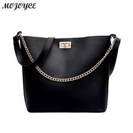 chain handles for bags 2019 - Women Chain Messenger Bag Large Bucket Leather Handbags Top-handle Totes Shoulder Crossbody Bags for Girls Bolsas Femini
