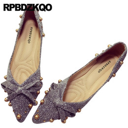 pointed toe glitter flats NZ - Flats Grey Rivet Ballerina Metal Brown Stud Glitter Dress Large Size Pointed Toe Bow Women Bowtie Sequin Wedding Ballet Shoes