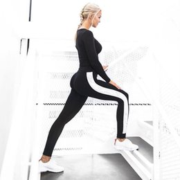Wholesale black trousers for ladies resale online – Women Pencil Pants High Waist Black Fitness Pant Long Stretch Casual Pants Striped Trousers For Lady