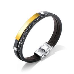 $enCountryForm.capitalKeyWord NZ - Hot Stainless Steel Glossy Leather Bracelet Multi Layer Black Braided Rope Wrist Band Punk Gothic Bracelets Bangles Hip Hop Rock Men Jewelry