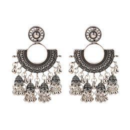 Wholesale tribal indian resale online - Antique Boho Gypsy Tribal Indian Drop Earrings for Women Gold Color Metal Bells Tassel Earring boucle d oreille
