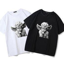 Love Tees Australia - Harajuku Little Angel Statue Print T Shirt Men Hip Hop Fashion Tee Tops Streetwear Peace And Love Pattern Mens T-shirt S5mc68