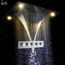 Wall Curtains UK - 5 Function Hot Cold Bath Shower Faucet Wall Shower Mixer Set With LED Shower Head Rainfall,Curtain,Misty,Waterfall 20180927#