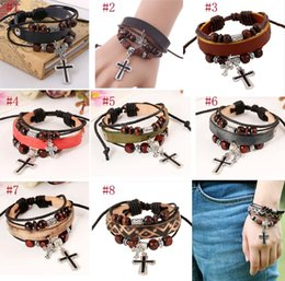 Rope Pendant Crosses Wholesale Australia - Leather Bracelet with Cross Pendant and Wood Beads Multilayer Rope Wrapped Adjustable Punk Bangle for Men and Women Vintage Leather Bracelet