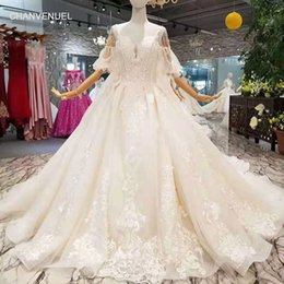 $enCountryForm.capitalKeyWord Australia - LSS402 detachable train wedding dresses with big bow spaghetti straps wedding gown with removable train back bride dress wedding