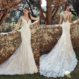4bc18d413 Sexy back button dreSSeS online shopping - Sexy Beach Full Lace Mermaid  Wedding Dresses Beach Sheer