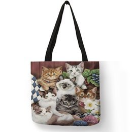 $enCountryForm.capitalKeyWord Australia - Multi-function Eco Large Casual Grocery Shopping Tote Bag Cartoon 3d Cute Cat Printing Lady Reusable Foldable Daily Hand Bag