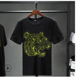 $enCountryForm.capitalKeyWord Australia - 2009 Hot Selling Men Tiger Head Hot Drill T-shirt Fashion Sports Ice Porcelain Cotton Thin Top Loose Breathable Factory Wholesale