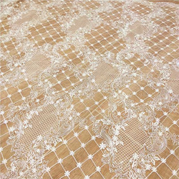 Wholesale ivory lace tulle fabric for sale - Group buy Elegant lady cheongsam woman dress gowns lace fabric ivory yard sequined tulle lace wedding lace with sequins