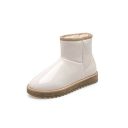 $enCountryForm.capitalKeyWord Australia - 2019 new women's bread shoes winter white black snow boots leather surface non-slip waterproof cotton shoes short boots women's boots