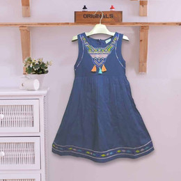 $enCountryForm.capitalKeyWord Australia - good quality Cotton Fabric Embroidered Tassel Summer Girls Beach Dresses Casual Children's Clothing Clothes 100-160 cm