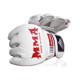 Ufc gloves online shopping - Gloves Black Half Finger UFC Training Combat Boxing Glove Good Ventilation Attractive And Durable Flexible Sweaty Mitts cw J