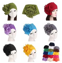 Fiber Garden Australia - New 16colors side Big flowers woman hats Bamboo fiber elastic head cap Ladies elegant fashion hats Chemotherapy cap