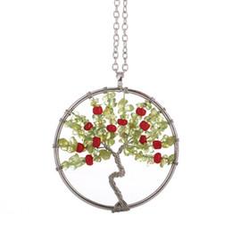 $enCountryForm.capitalKeyWord Australia - Natural Peridot Stone Necklace Tree of Life Charm Pendant Colorful Life Tree Necklaces Fashion Women Retro Green Crystal Jewelry In Stock