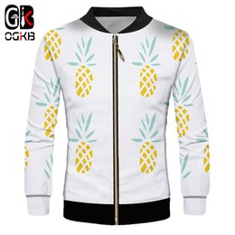 Cool Windbreaker Jackets Australia - OGKB 2018 New Fashion 3d Cool Print Yello Fresh Pineapple Jacket Outer Tracksuit Unisex Windbreaker Long Sleeve Zipper Coat