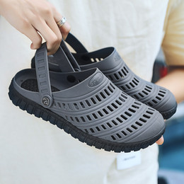 b8a37a91eaf9e5 New Cool Mens Fretwork Sandals Black Gray Plastic Beach Shoes Men Light  Weight Hole Sandals Soft Sole Slippers Men Half Shoes