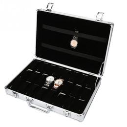 $enCountryForm.capitalKeyWord NZ - 24 Grids Aluminum Alloy Suitcase Watch Display Storage Box Jewelry Watch Organizer Case Interior Soft Cloth Display Storage Case