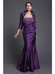 blue taffeta jackets Canada - Classy Purple Taffeta mother of bride dresses With Jacket Sexy Strapless Beaded Plus Size Groom Mother Dress 3 4 Sleeves Mermaid Gowns Cheap