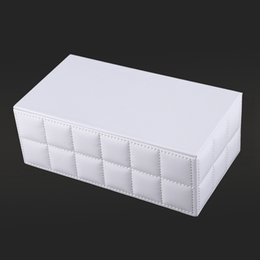 car storage garage UK - Durable Home Car Rectangle PU Leather Tissue Box Paper Holder Case Cover Napkin Kitchen Storage Organization