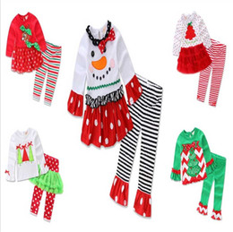 christmas clothes Australia - Girls Xmas Sets Babies Christmas Deer Printed T shirt+Striped Dot Ruffle Pants 2 pcs Suit Children Holiday Outfit Set kids Clothing 5 Styles