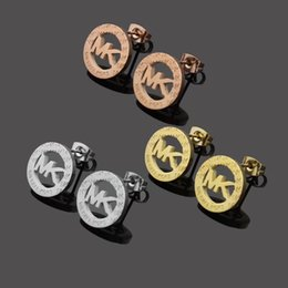 Discount men gold pendants china - 2019 New Fashion jewelry famous brand Stud stainless steel Wholesale prices! HOT! 18 K letter Gold Silver rose Stud Earr