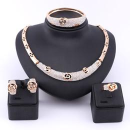 $enCountryForm.capitalKeyWord Australia - Dubai Gold Austrian Crystal Rose Flower Necklace Jewelry Set Women Costumer Nigerian Wedding fashion african beads jewelry set