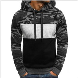 Discount headbands stand - Fashion Men's Fleece Hooded Sweater Youth Trend Headband Men's Camouflage Color Matching Slim Sweater Hoodies